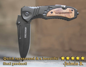 Boyfriend Gift, Personalized Knife, Husband Gift - Stainless Steel w/ Clip