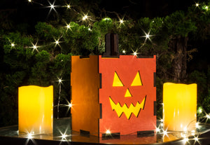 Large Wood Pumpkin Lantern – Halloween Decor Outdoor - Outdoor Fall Decorations - Jack O Lantern