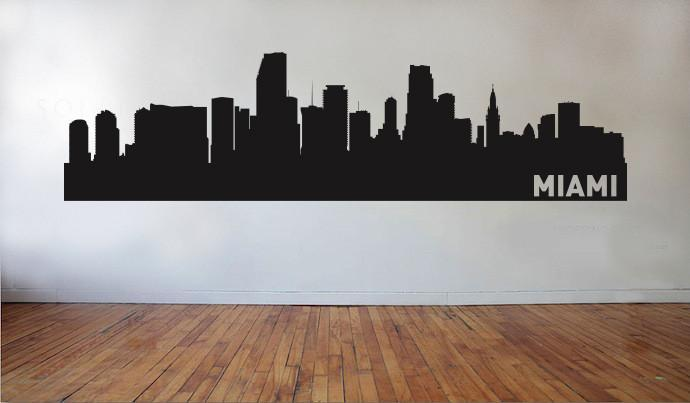Miami Florida Skyline Vinyl Wall Decal