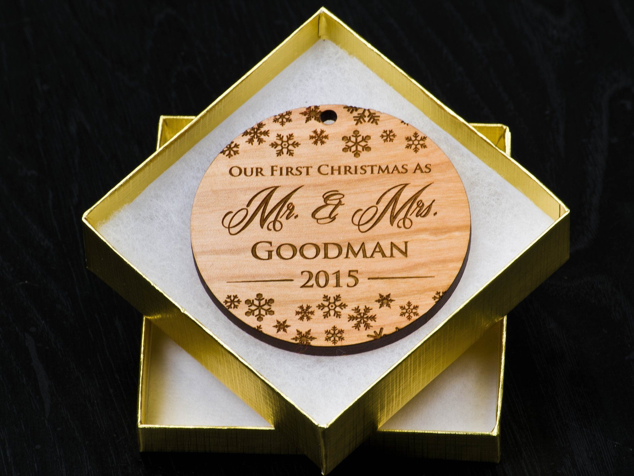 Personalizable ornaments - Our First Christmas Ornament First Married Christmas Personalized Ornament First Christmas Together Ornament Custom Wood Ornament