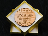Personalized Our First (1st) Christmas Together 2019 Newlywed Couples Wedding Ornament - Just Married - Mr and Mrs - Custom Engraved Wood