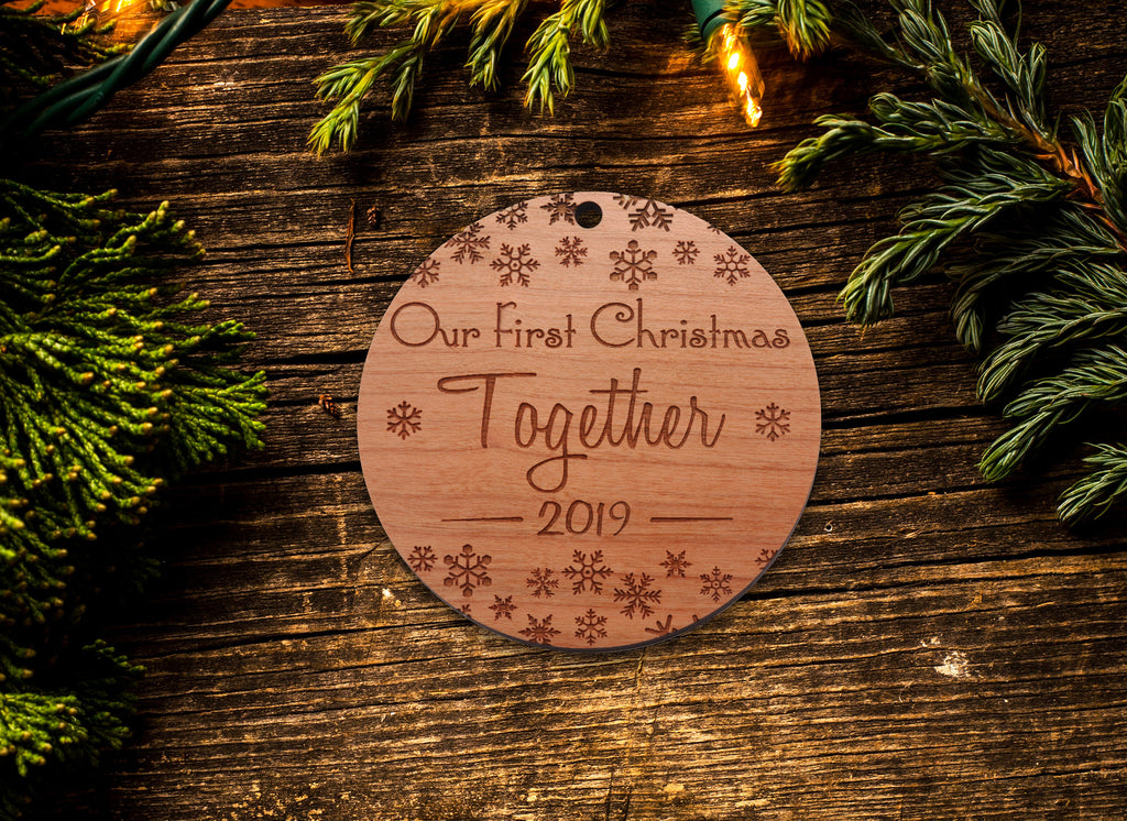 Ships Next Day - Our First Christmas Together Couples Custom Ornament - Cute 1st Xmas 2019 Boyfriend / Girlfriend Ornament