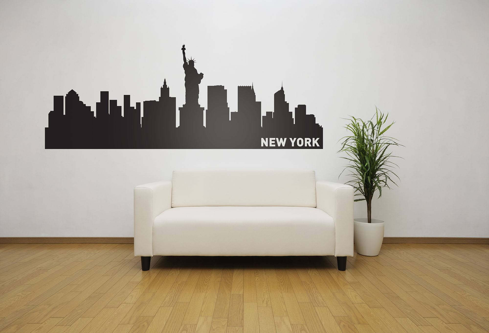 New york city skyline vinyl wall decal the personalized for Sticker mural new york