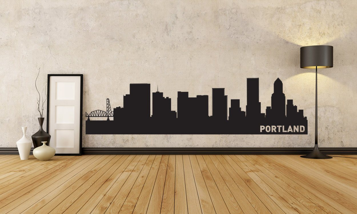 Portland Oregon Skyline Vinyl Wall Decal The Personalized Gift Co - Custom vinyl decals portland oregon