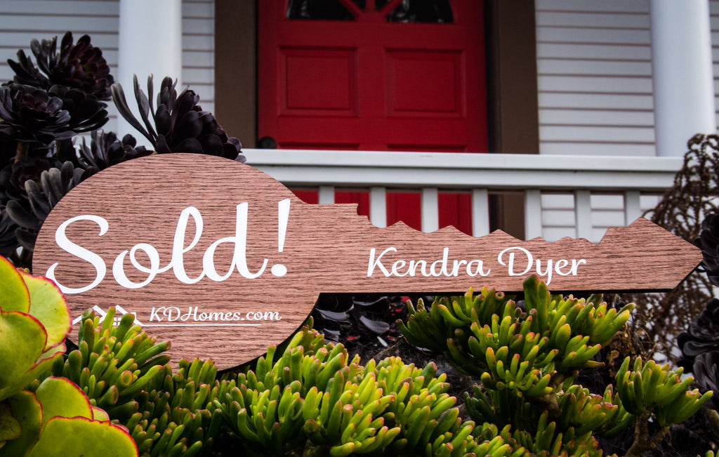"Key Shaped Sold Sign/Real Estate - Custom Realtor Sold Sign - Solid Wood - 9"" x 24"" inch - Upload Your Logo"