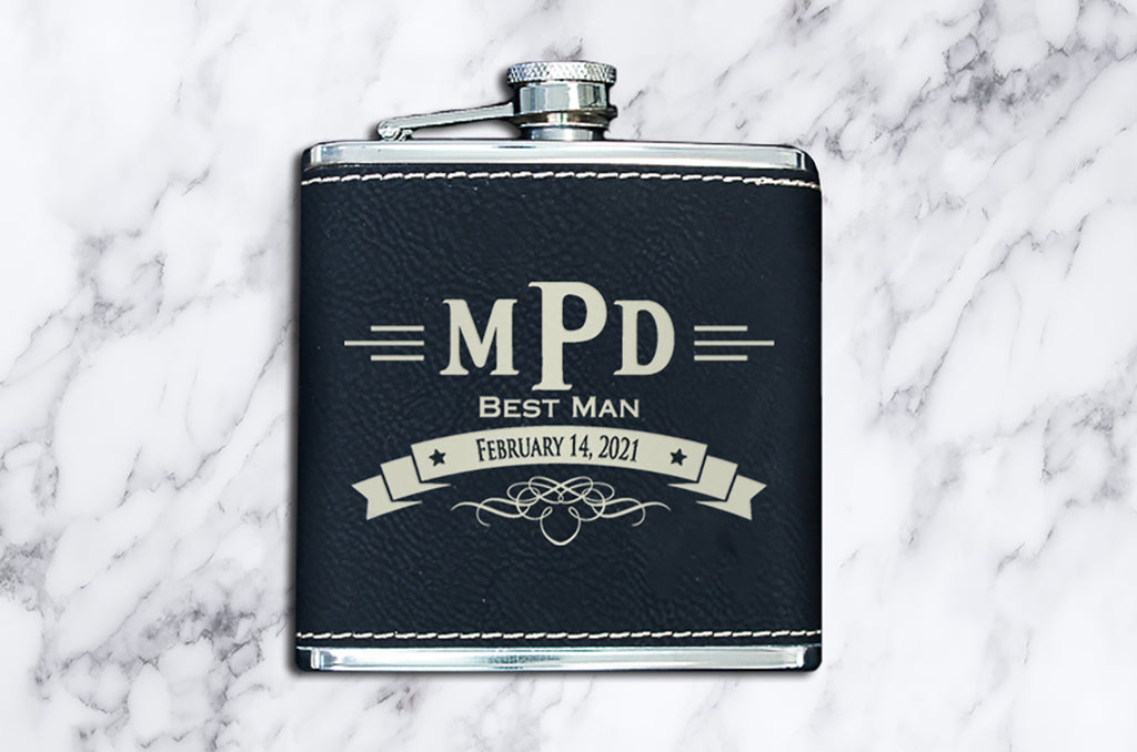 Personalized Leather Wedding Flask Gift Set - Custom Laser Engraved Flasks For Groomsmen - Black/Gold