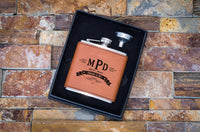 Personalized Leather Wrapped Flasks for Groomsmen - Custom Laser Engraved Wedding Flasks