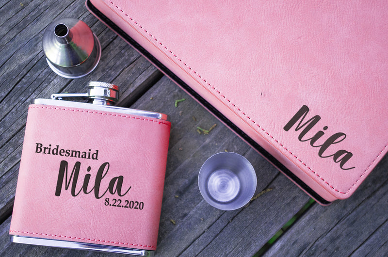 Pink Flasks for Women - Bridesmaid / Maid of Honor Custom Personalized Flask - Vegan Leather - Bachelorette Party Favors