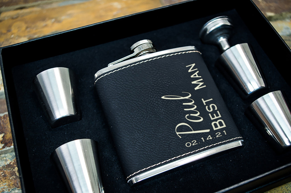 Personalized Flask Gift Set - Great Gift for Dad - Black Faux Leather w/ Custom Engraving, Gift Box Set