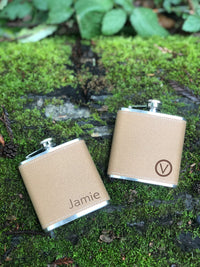 Personalized Flasks for Groomsmen - Laser Engraved Vegan Leather Wrapped Custom Hip Flask Set with Initials
