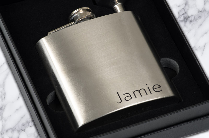 Custom Monogram or Initials - Personalized Stainless Steel Hip Flask For Groomsmen - Engraved Flask Set