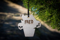 Personalized Halloween Ornaments - Wood Personalized Halloween Wreath or Party Decor/Decorations, Outdoor/Indoor