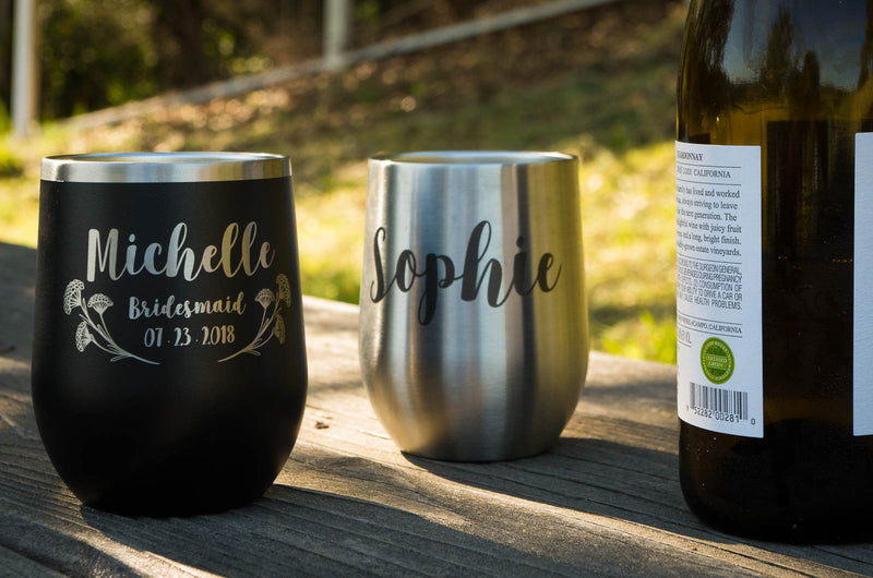 Personalized Stemless Wine Tumbler, Groomsmen Gift, Travel Mug, Monogram Tumbler, Git for Her, Bridesmaid Gifts, 12 oz