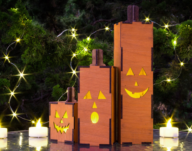 Wood Lantern – Mini Halloween Decor Outdoor - Outdoor Fall Decorations