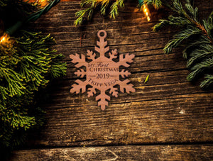 Personalized Baby's First Christmas Snowflake Ornament 2019 - Custom Engraved 1st Christmas / Baby Girl or Boy My First Christmas