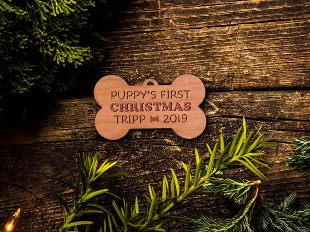 Personalized Dog Ornament - Puppy's First Christmas Ornament - Personalized Ornament - Custom Engraved Wooden Bone