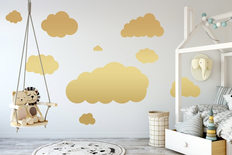 Personalized Set of Clouds Wall Decal, Nursery Wall Decal, Childs Room Wall Decal, Cloud Decal, Wall Decor, Cloud Wall Art,