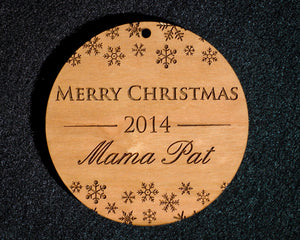 Merry Christmas Ornament w/ Snow Flakes - Custom Engraved Wood Ornament w/ Gift Box - The Personalized Gift Co. - Ornaments - 3