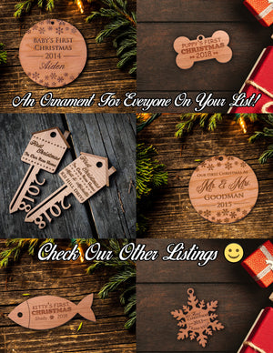 Personalized Christmas Ornaments 2019 - Custom Made Engraved Wood w/ Customizable Name & Snowflakes
