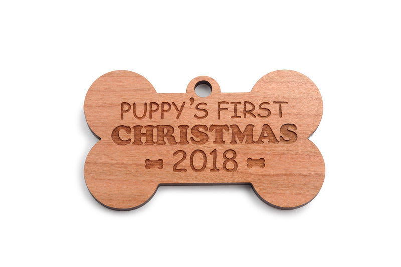 Ships Next Day - Dog Christmas Ornaments 2019 - Custom Dog Bone Wood Ornament - New Puppy's First Christmas Ornament