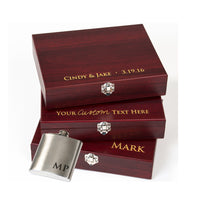 Personalized Silver Stainless Steel Flask Gift Box Set w/ Custom Engraving - The Personalized Gift Co. - Wedding Favors - 3