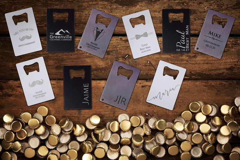 Custom Bottle Opener EDC - Groomsmen Bottle Opener - Personalized Bottle Opener Engraved - Groomsmen Proposal Card - Custom Wallet Insert