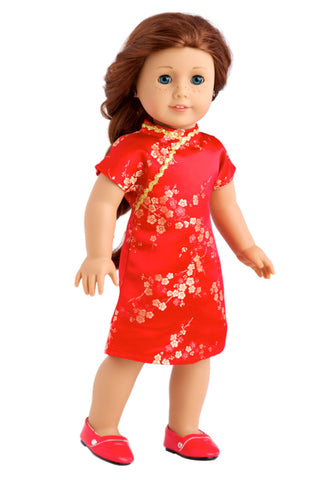 Holiday Spirit - Clothes for 18 inch Doll - Holiday Red Taffeta Party Dress with Red Shoes and Headband