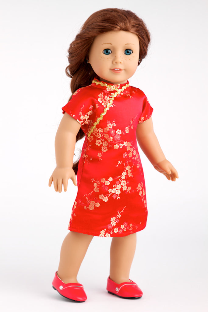 Asian Beauty - Clothes for 18 inch Doll - Asian Red and Gold Traditional Dress with Golden Shoes