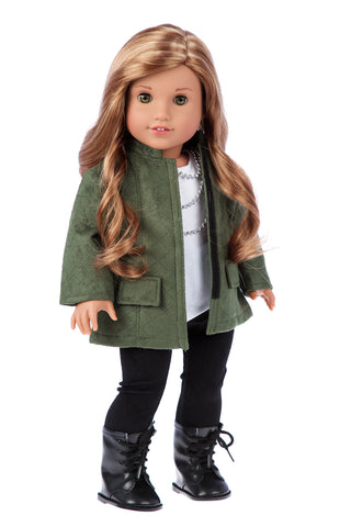 Fashion Girl - Clothes for 18 inch Doll - Cheetah Coat, Ivory Dress and Ivory Boots