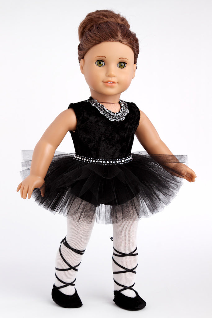 Black Swan - Ballerina Outfit for 18 inch Doll - Leotard, Tutu, Tights and Ballet Shoes