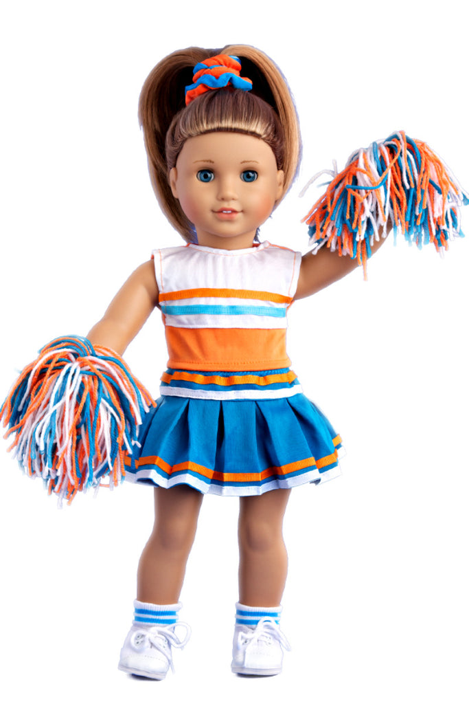 Cheerleader Clothes For 18 Inch Doll 6 Piece Outfit Blouse Skirt Headband Pompons Socks And Shoes