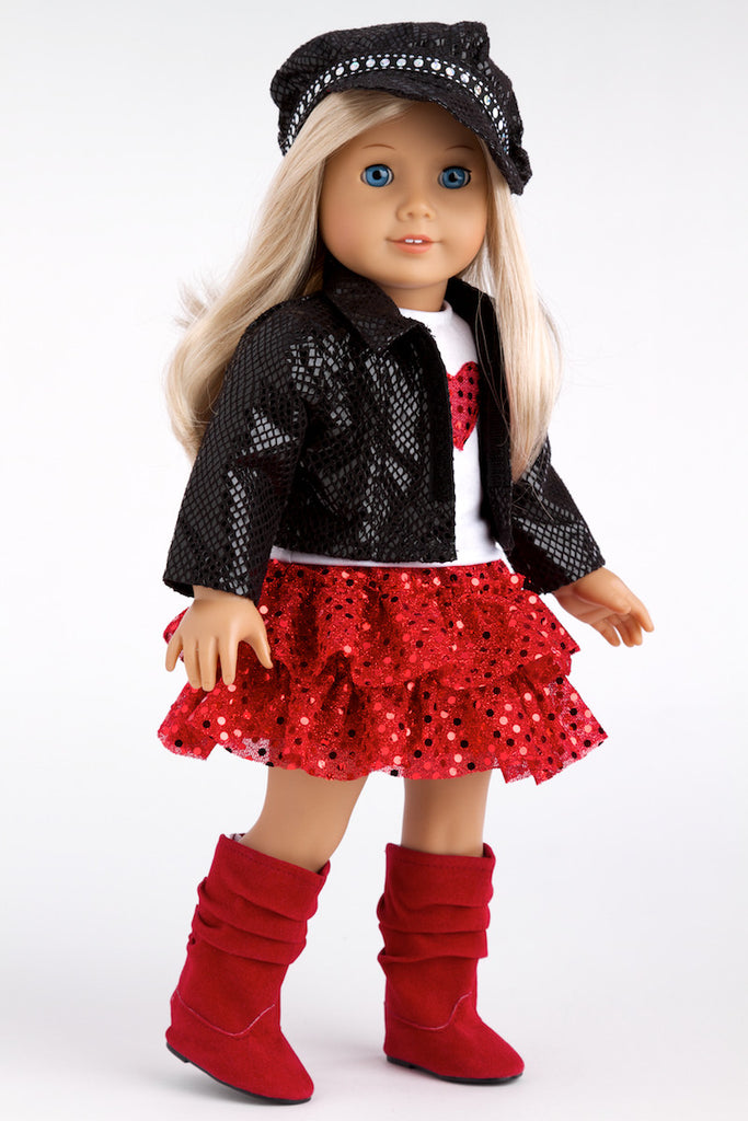 Chic and Sassy - Clothes for 18 inch Doll - Black Motorcycle Faux Leather Jacket with Paperboy Hat, White T-shirt, Red Skirt and Boots