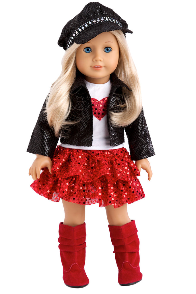 chic and sassy clothes for 18 inch doll black motorcycle faux leather jacket with paperboy hat white t shirt red skirt and boots - Ameeican Girl Doll