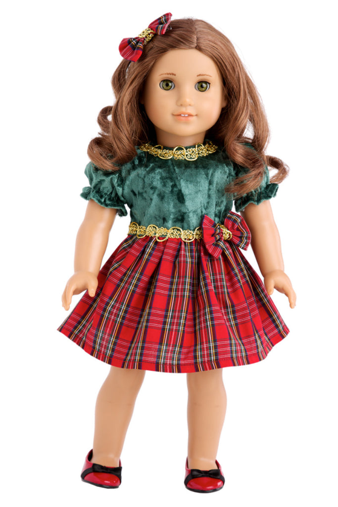Christmas Classic - Clothes for 18 inch Doll - Green and Red Holiday Party  Dress with Red Shoes and Bow - Christmas Classic - Clothes For 18 Inch American Girl Doll - Holiday