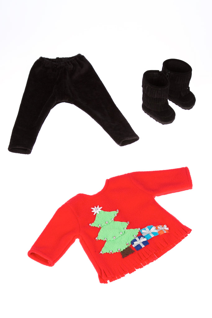 Christmas Sweater - Doll Clothes for 18 inch Dolls - 3 Piece Doll Outfit - Red Sweater, Black Pants and Boots