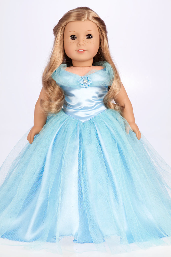 Cinderella - Clothes for 18 inch Doll - Disney Blue Gown with Silver Slippers