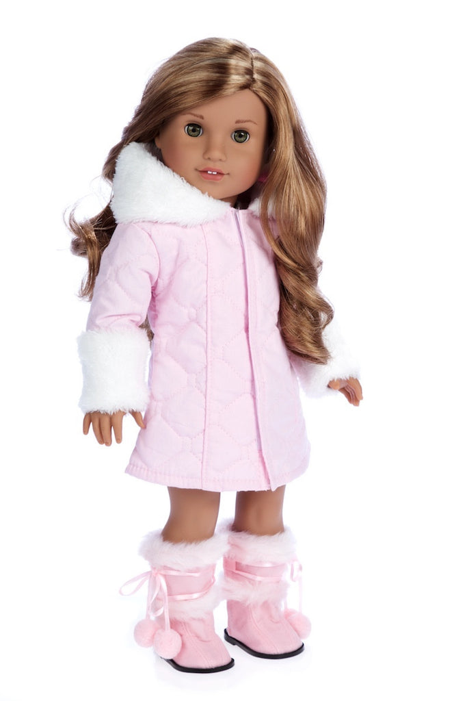 18 inch Girl Dolls Clothing Accessories White Cotton Coat And Black Trousers