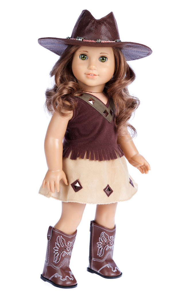 Cowgirl - Clothes for 18 inch Doll - 4 Piece Outfit - Cowgirl Hat, Skirt, Top and Cowgirl boots