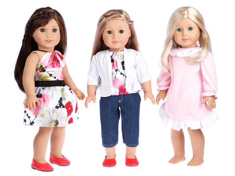 Ultimate Doll Playset - 7 Pieces - 3 Complete Mix and Match 18 inch Doll Outfits
