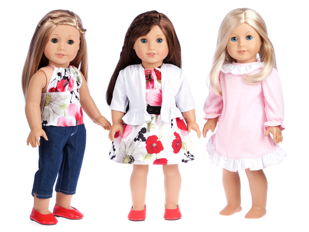 Dressy Doll Playset - 6 pieces - 3 Full Mix and Match 18 inch Doll Outfits