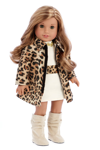 Fashion Safari - Clothes for 18 inch Doll - Ivory Velvet Tunic with Cheetah Leggings and Fringed Boots