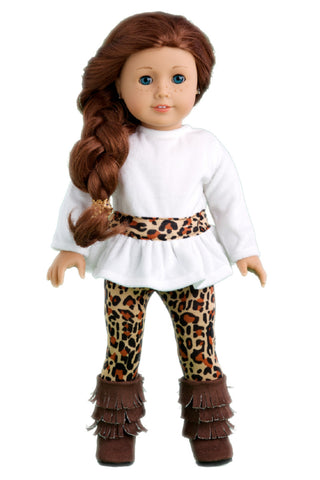 Autumn Stroll - 4 Piece Doll Outfit - Green Coat, White Blouse, Black Velvet Leggings, Black Boots