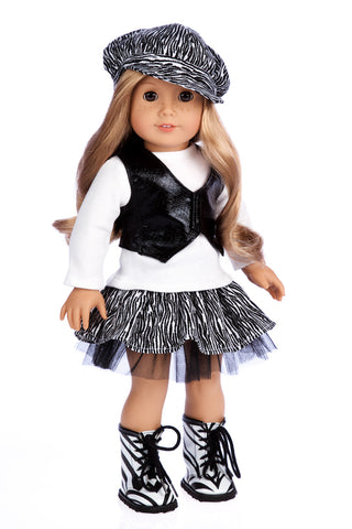 Urban Explorer - Clothes for 18 inch Doll - Brown Motorcycle Jacket, Paperboy Hat, Dress and Boots