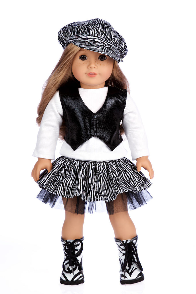 Fashionista - Doll Clothes for 18 inch American Girl Doll  - 5 Piece Doll Outfit - Blouse, Vest, Hat, Skirt and Boots