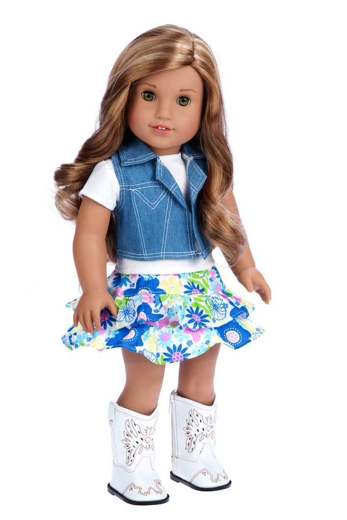 feeling happy western doll clothes for american girl doll colorful skirt white t shirt blue jeans vest white cowgirl boots - Ameeican Girl Doll