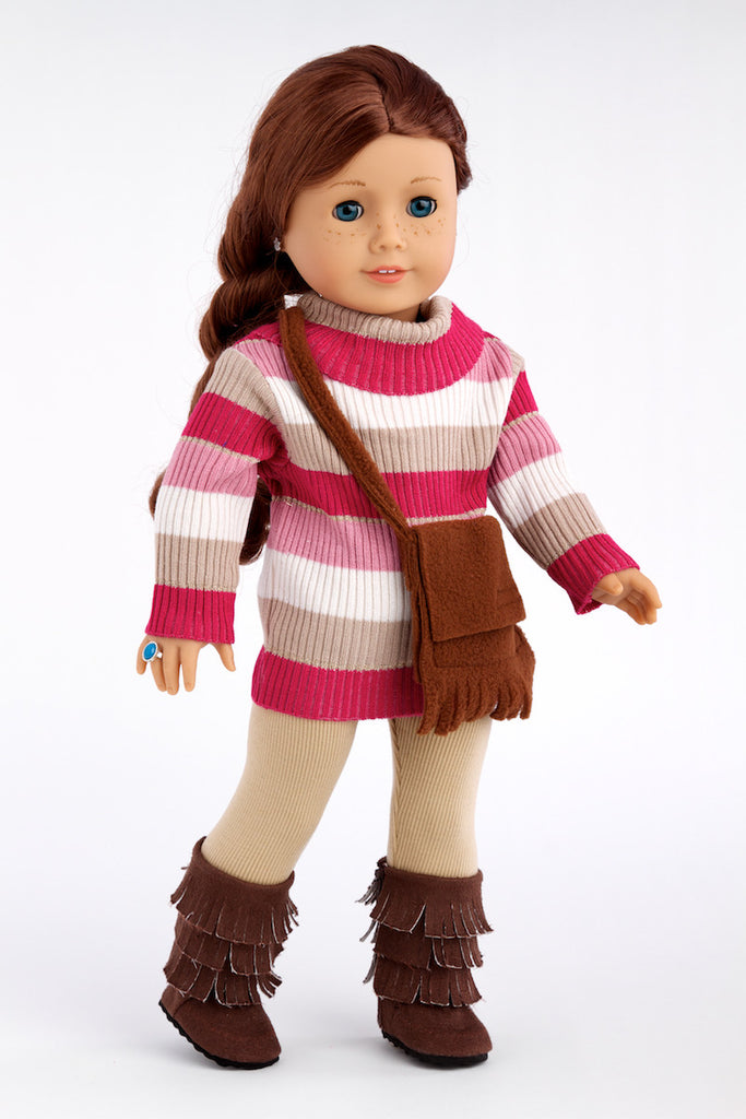 Fun Loving Girl - Clothes for 18 inch Doll - Colorful Turtle Neck with Beige Stretchy Leggings, Brown Purse and Sherpa Boots