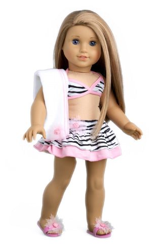 Beach Party - Clothes for 18 inch Doll - 3 Piece Outfit - Pink Swimsuit, Yellow Wrap and Beach Bag