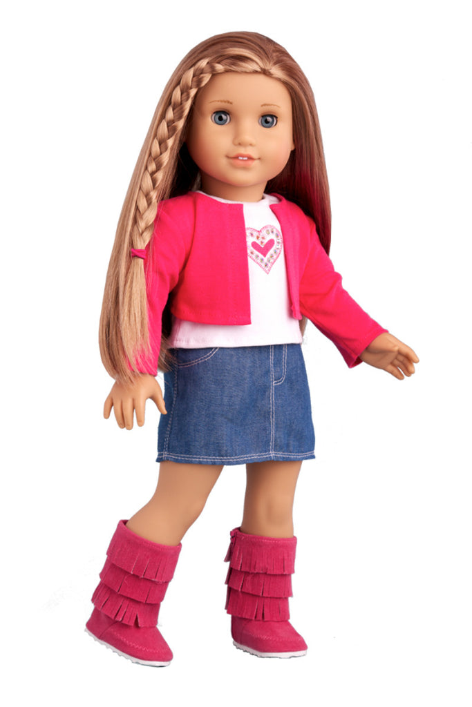 PURPLE COWGIRL OUTFIT: Fringed Jacket Boots Jeans Tee fits American Girl
