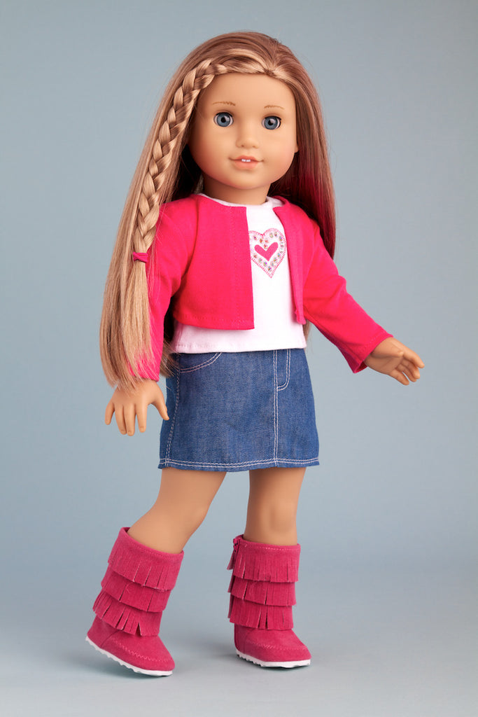 Fuchsia Heart - Clothes for 18 inch Doll - 4 Piece Outfit - Fuchsia Jacket, T-Shirt, Denim Skirt and Boots