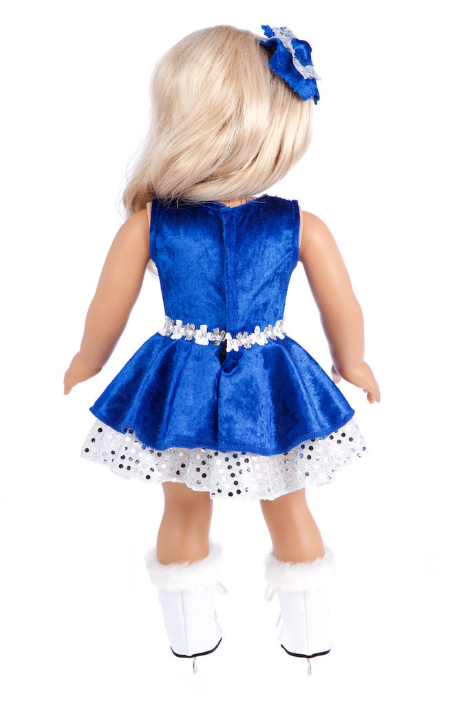 Ice Dancer - Clothes for 18 inch Dolls - Blue Leotard with Double Blue and Silver Ruffle Skirt, Decorative Head Flower, White Skates